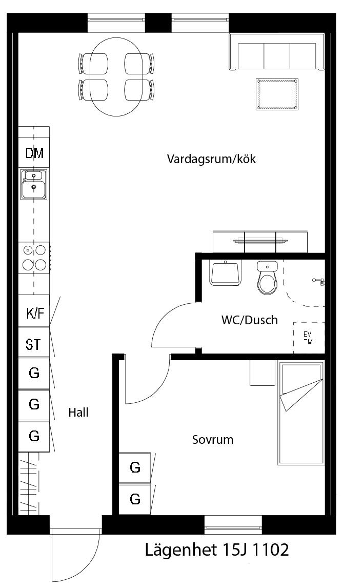 Lägenhetsskiss 15J 1102