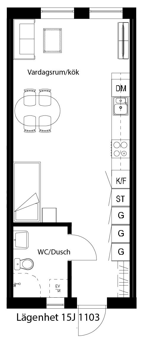 Lägenhetsskiss 15J 1103