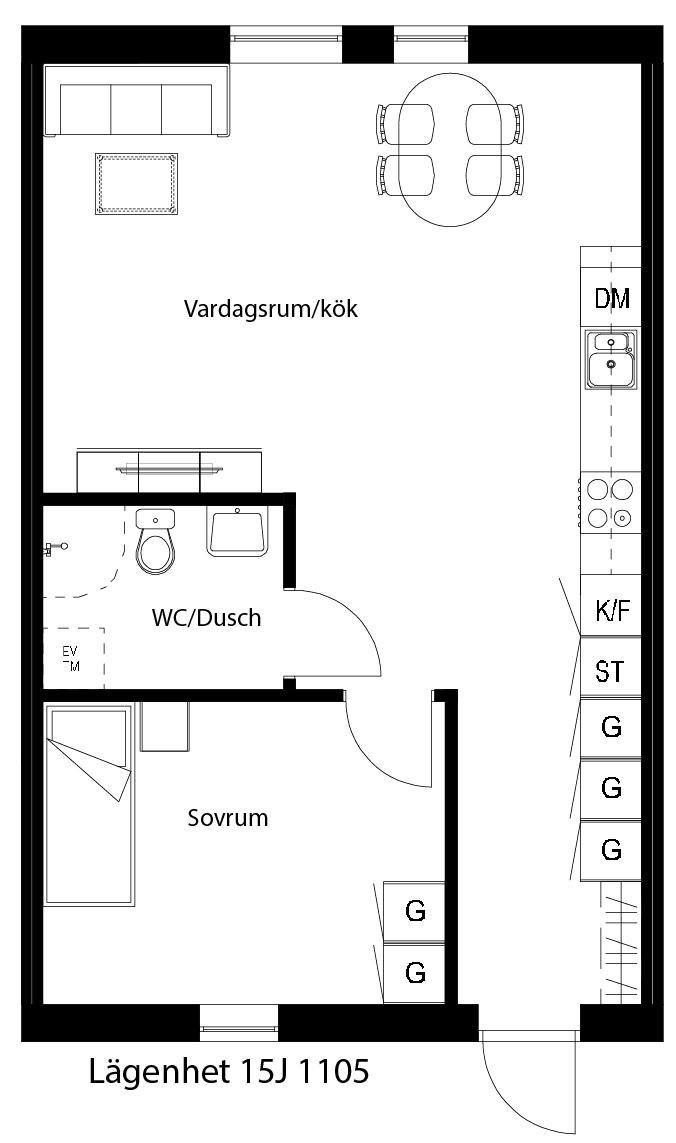Lägenhetsskiss 15J 1105