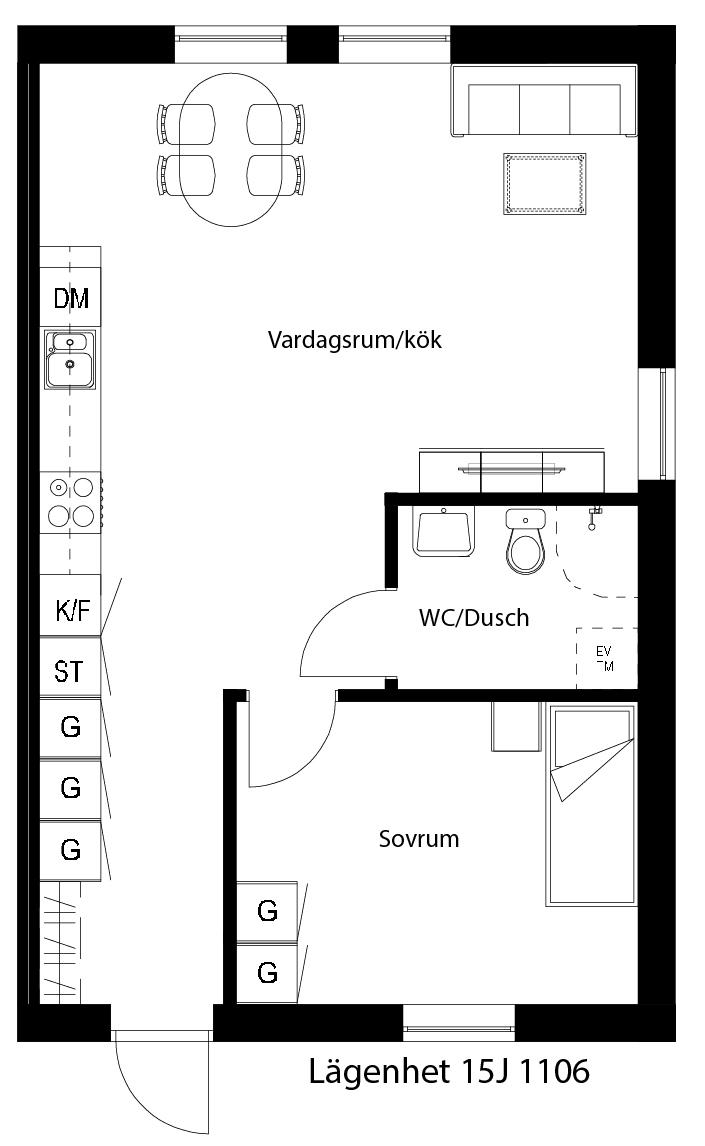 Lägenhetsskiss 15J 1106