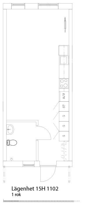 Lägenhetsskiss 15H 1102