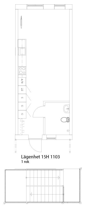 Lägenhetsskiss 15H 1103
