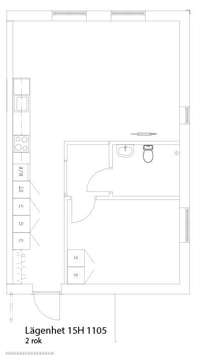 Lägenhetsskiss 15H 1105